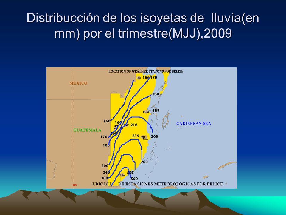 Distribucción de los isoyetas de lluvia(en mm) por el trimestre(MJJ),2009