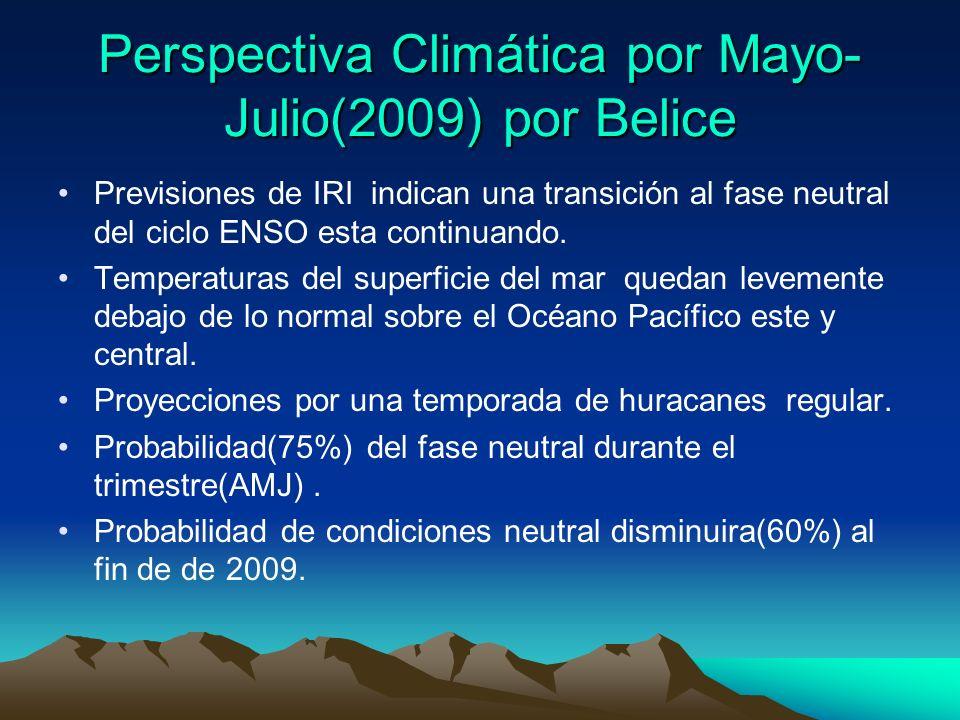 Perspectiva Climática por Mayo- Julio(2009) por Belice Previsiones de IRI indican una transición al fase neutral del ciclo ENSO esta continuando.