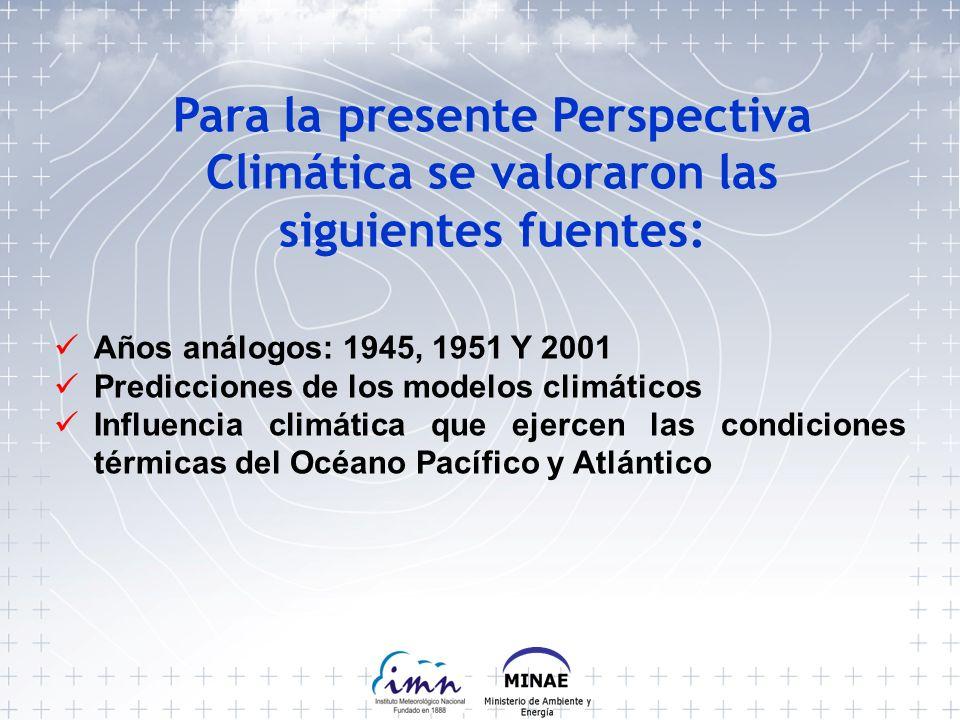 Para la presente Perspectiva Climática se valoraron las siguientes fuentes: Años análogos: 1945, 1951 Y 2001 Predicciones de los modelos climáticos Influencia climática que ejercen las condiciones térmicas del Océano Pacífico y Atlántico