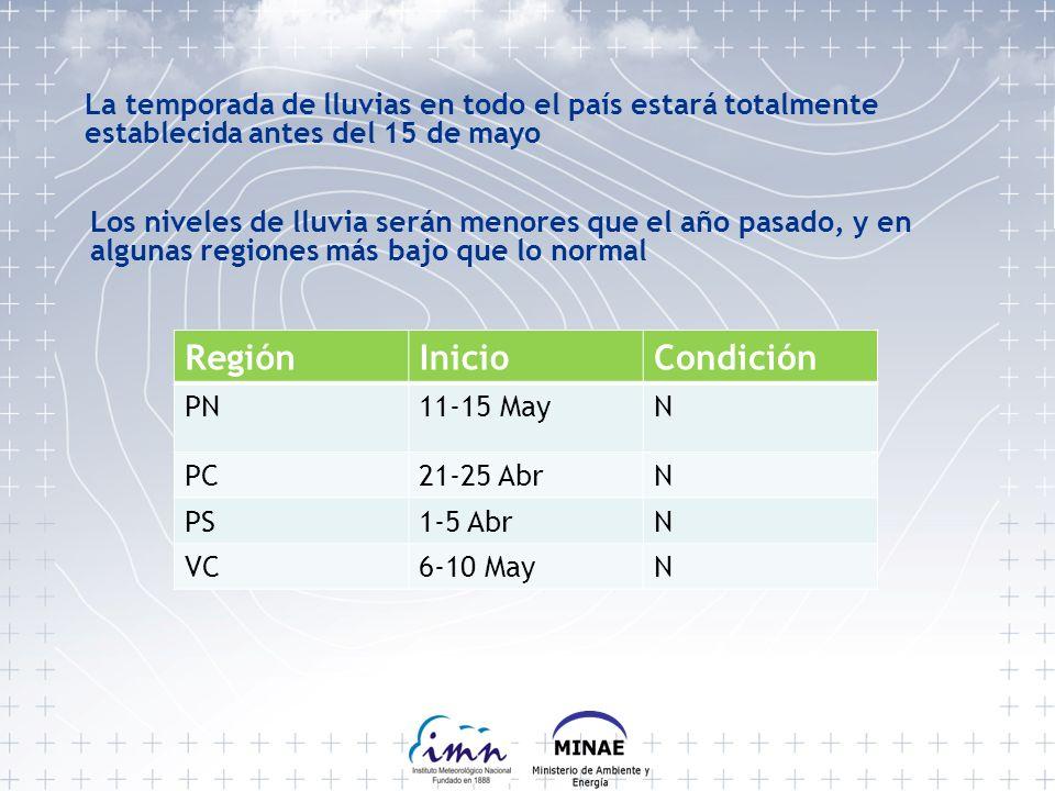 RegiónInicioCondición PN11-15 MayN PC21-25 AbrN PS1-5 AbrN VC6-10 MayN La temporada de lluvias en todo el país estará totalmente establecida antes del 15 de mayo Los niveles de lluvia serán menores que el año pasado, y en algunas regiones más bajo que lo normal