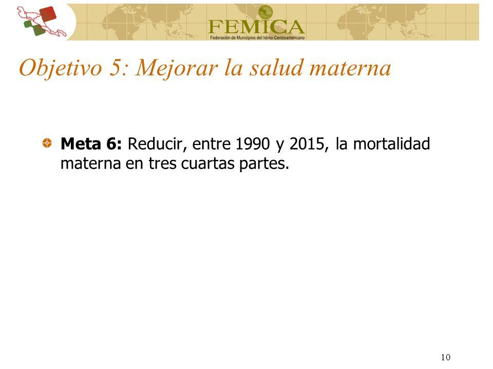10 Objetivo 5: Mejorar la salud materna Meta 6: Reducir, entre 1990 y 2015, la mortalidad materna en tres cuartas partes.