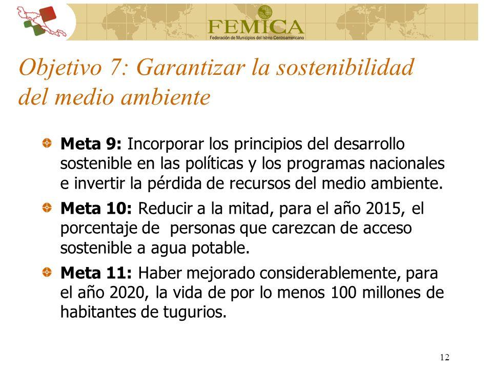 12 Objetivo 7: Garantizar la sostenibilidad del medio ambiente Meta 9: Incorporar los principios del desarrollo sostenible en las políticas y los prog