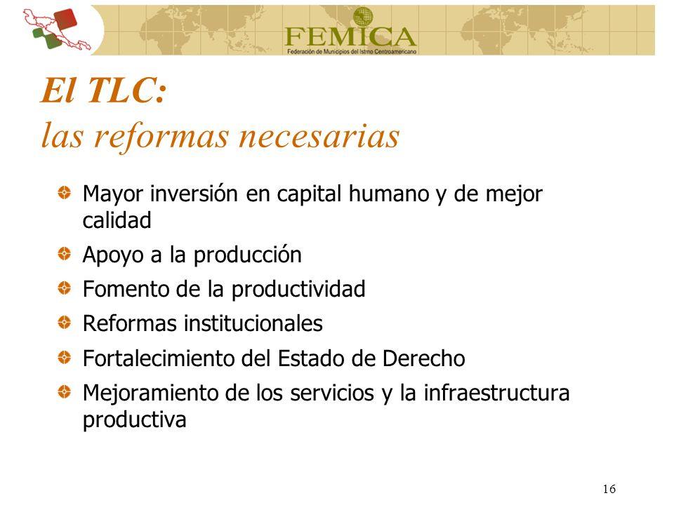 16 El TLC: las reformas necesarias Mayor inversión en capital humano y de mejor calidad Apoyo a la producción Fomento de la productividad Reformas ins