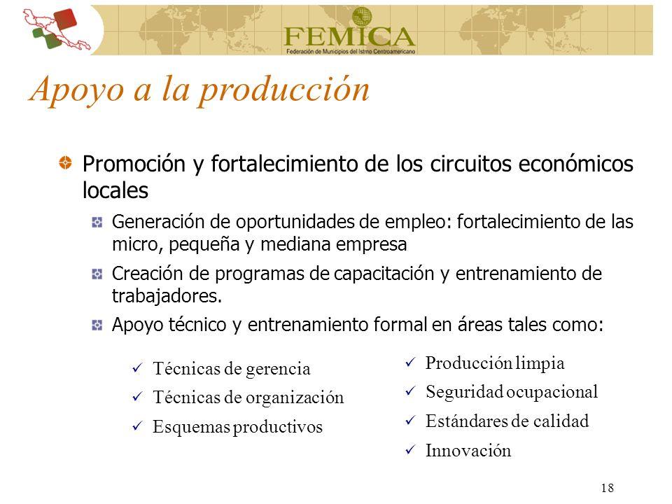 18 Apoyo a la producción Promoción y fortalecimiento de los circuitos económicos locales Generación de oportunidades de empleo: fortalecimiento de las