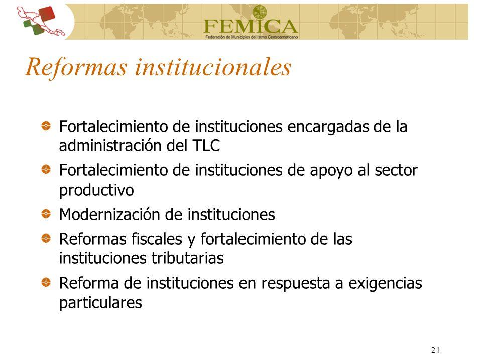 21 Reformas institucionales Fortalecimiento de instituciones encargadas de la administración del TLC Fortalecimiento de instituciones de apoyo al sect