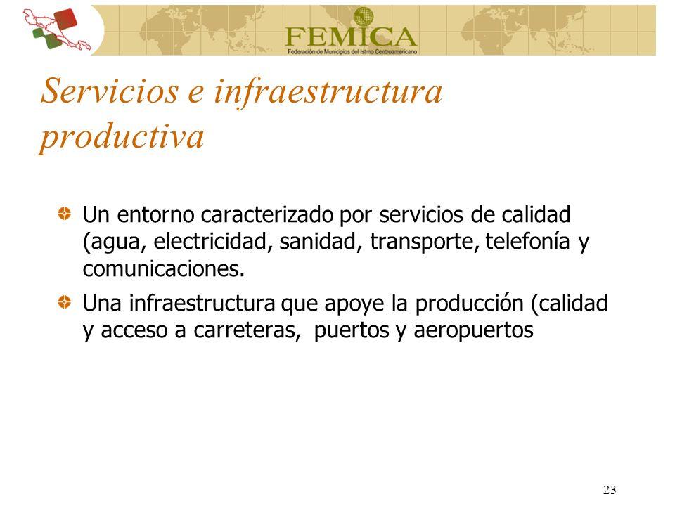 23 Servicios e infraestructura productiva Un entorno caracterizado por servicios de calidad (agua, electricidad, sanidad, transporte, telefonía y comu