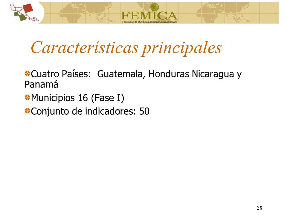28 Características principales Cuatro Países: Guatemala, Honduras Nicaragua y Panamá Municipios 16 (Fase I) Conjunto de indicadores: 50