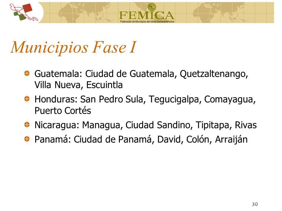30 Municipios Fase I Guatemala: Ciudad de Guatemala, Quetzaltenango, Villa Nueva, Escuintla Honduras: San Pedro Sula, Tegucigalpa, Comayagua, Puerto C