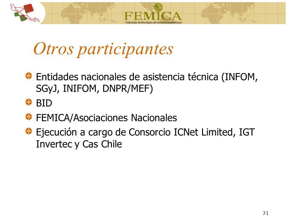 31 Otros participantes Entidades nacionales de asistencia técnica (INFOM, SGyJ, INIFOM, DNPR/MEF) BID FEMICA/Asociaciones Nacionales Ejecución a cargo