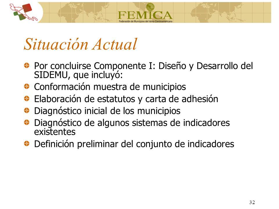 32 Situación Actual Por concluirse Componente I: Diseño y Desarrollo del SIDEMU, que incluyó: Conformación muestra de municipios Elaboración de estatu