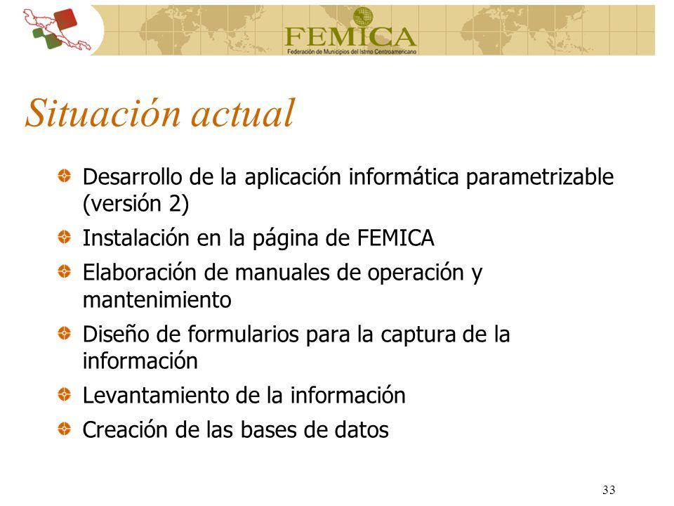 33 Situación actual Desarrollo de la aplicación informática parametrizable (versión 2) Instalación en la página de FEMICA Elaboración de manuales de o