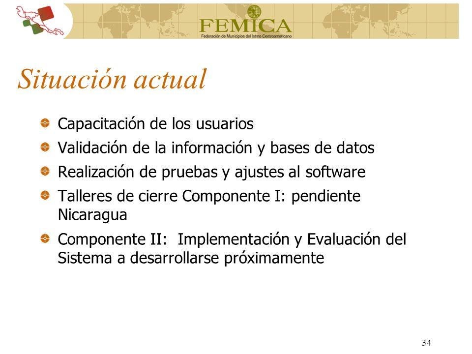 34 Situación actual Capacitación de los usuarios Validación de la información y bases de datos Realización de pruebas y ajustes al software Talleres d