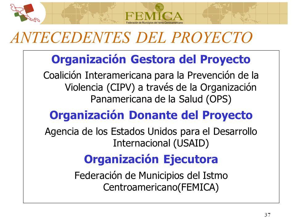 37 ANTECEDENTES DEL PROYECTO Organización Gestora del Proyecto Coalición Interamericana para la Prevención de la Violencia (CIPV) a través de la Organ