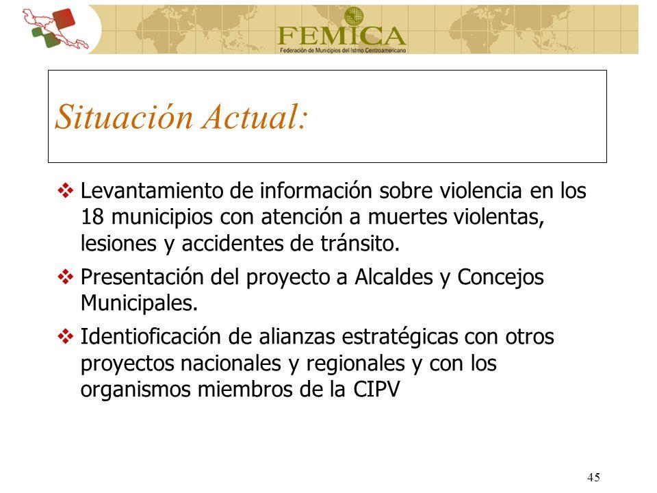 45 Situación Actual: Levantamiento de información sobre violencia en los 18 municipios con atención a muertes violentas, lesiones y accidentes de trán