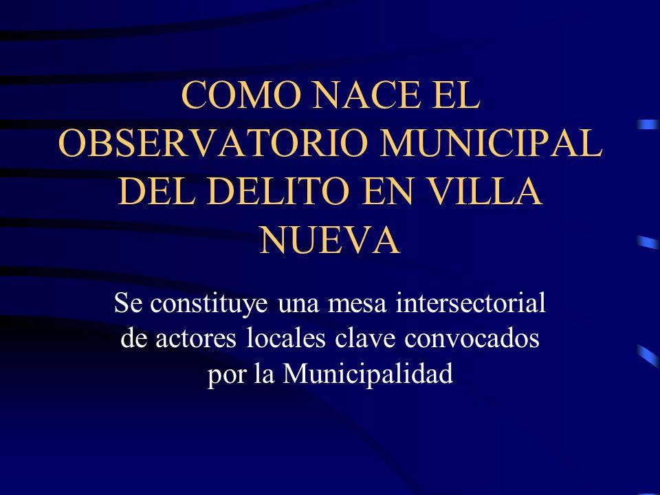 COMO NACE EL OBSERVATORIO MUNICIPAL DEL DELITO EN VILLA NUEVA Se constituye una mesa intersectorial de actores locales clave convocados por la Municip