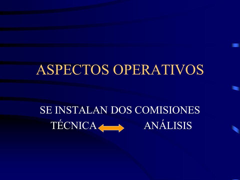 ASPECTOS OPERATIVOS SE INSTALAN DOS COMISIONES TÉCNICAANÁLISIS