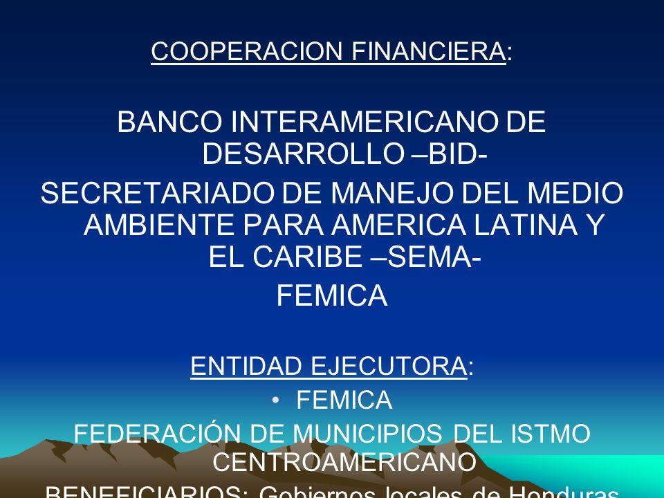 COOPERACION FINANCIERA: BANCO INTERAMERICANO DE DESARROLLO –BID- SECRETARIADO DE MANEJO DEL MEDIO AMBIENTE PARA AMERICA LATINA Y EL CARIBE –SEMA- FEMI