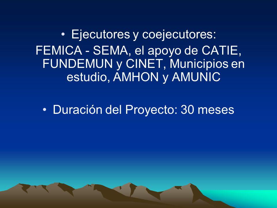 Ejecutores y coejecutores: FEMICA - SEMA, el apoyo de CATIE, FUNDEMUN y CINET, Municipios en estudio, AMHON y AMUNIC Duración del Proyecto: 30 meses
