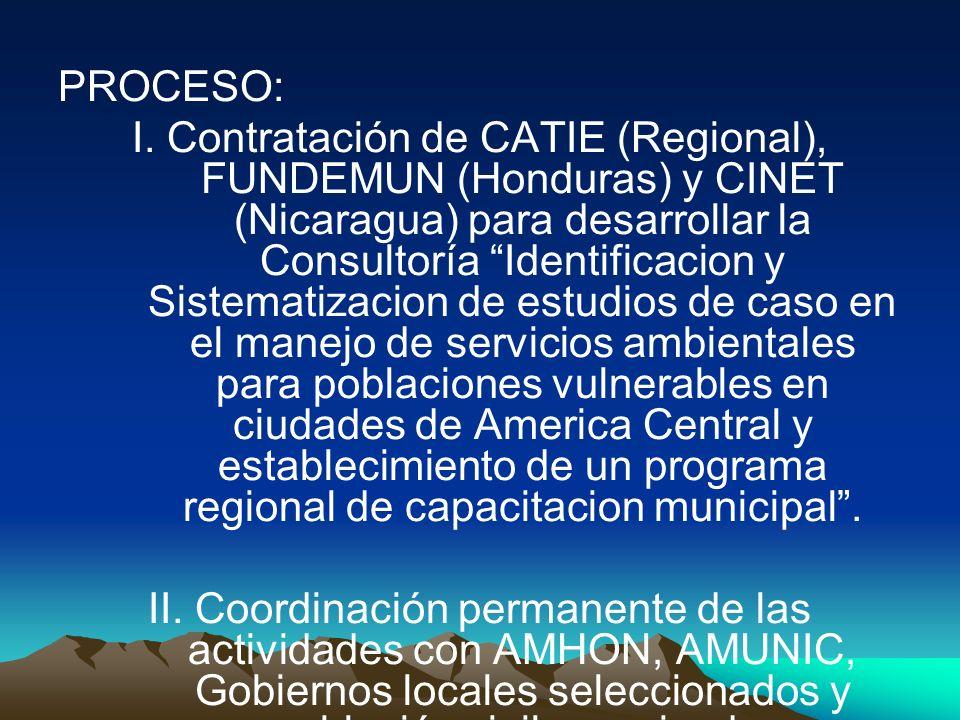 PROCESO: I. Contratación de CATIE (Regional), FUNDEMUN (Honduras) y CINET (Nicaragua) para desarrollar la Consultoría Identificacion y Sistematizacion