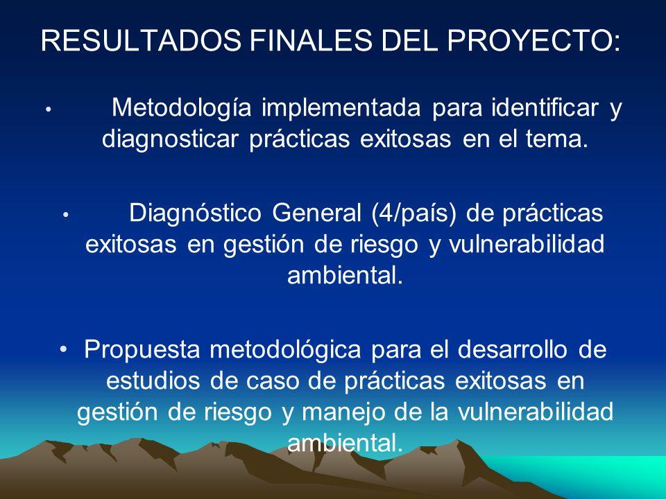 RESULTADOS FINALES DEL PROYECTO: Metodología implementada para identificar y diagnosticar prácticas exitosas en el tema. Diagnóstico General (4/país)