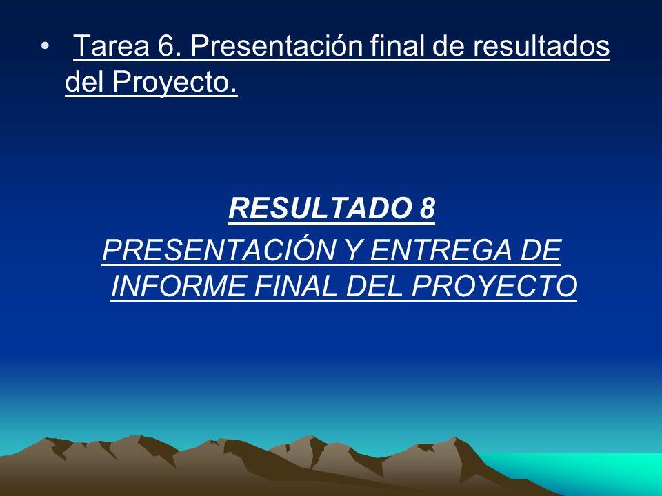 Tarea 6. Presentación final de resultados del Proyecto. RESULTADO 8 PRESENTACIÓN Y ENTREGA DE INFORME FINAL DEL PROYECTO