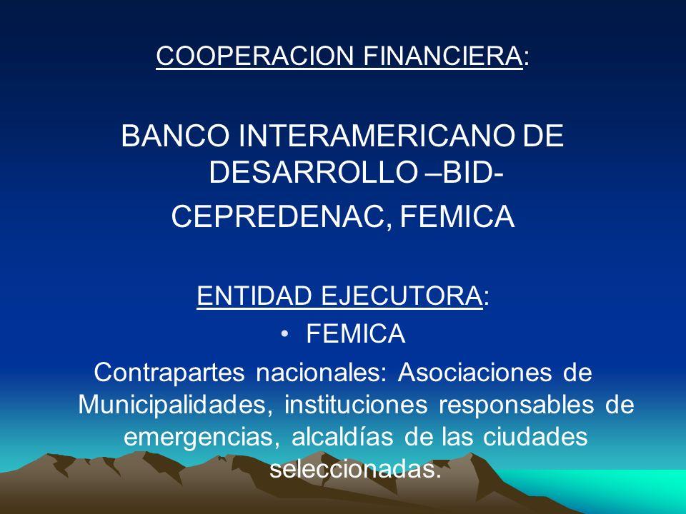 COOPERACION FINANCIERA: BANCO INTERAMERICANO DE DESARROLLO –BID- CEPREDENAC, FEMICA ENTIDAD EJECUTORA: FEMICA Contrapartes nacionales: Asociaciones de