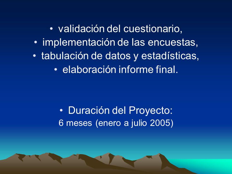 validación del cuestionario, implementación de las encuestas, tabulación de datos y estadísticas, elaboración informe final. Duración del Proyecto: 6