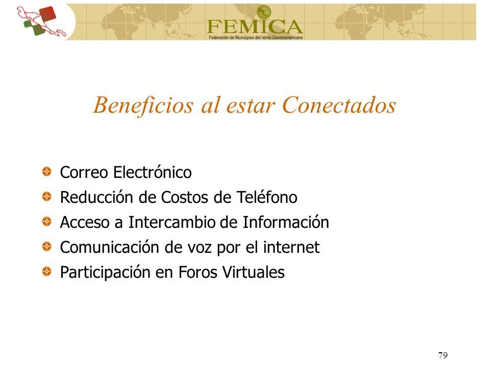 79 Correo Electrónico Reducción de Costos de Teléfono Acceso a Intercambio de Información Comunicación de voz por el internet Participación en Foros V