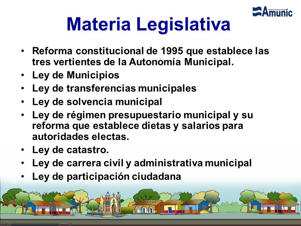 Materia Legislativa Reforma constitucional de 1995 que establece las tres vertientes de la Autonomía Municipal. Ley de Municipios Ley de transferencia