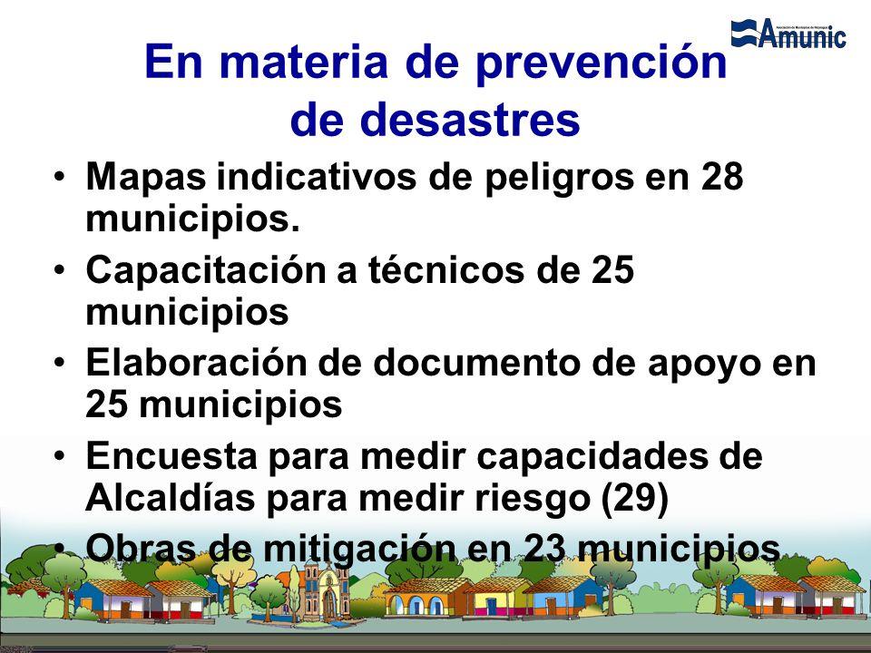 En materia de prevención de desastres Mapas indicativos de peligros en 28 municipios. Capacitación a técnicos de 25 municipios Elaboración de document