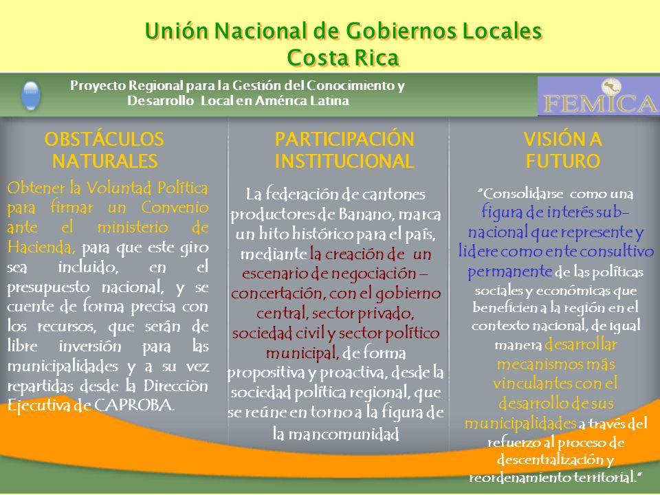 Proyecto Regional para la Gestión del Conocimiento y Desarrollo Local en América Latina Unión Nacional de Gobiernos Locales Costa Rica Unión Nacional
