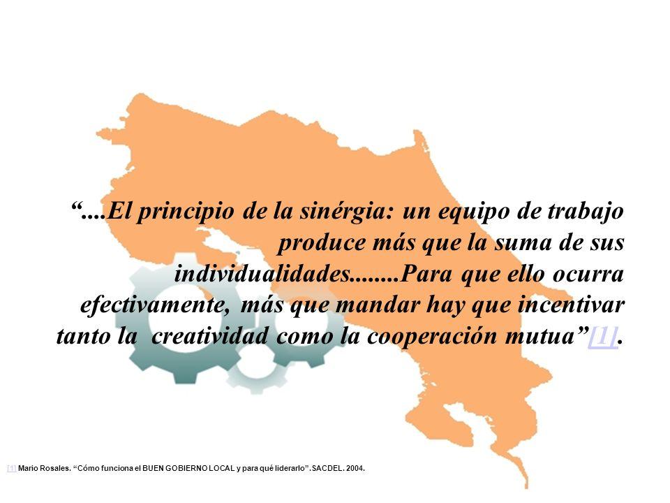 ....El principio de la sinérgia: un equipo de trabajo produce más que la suma de sus individualidades........Para que ello ocurra efectivamente, más q