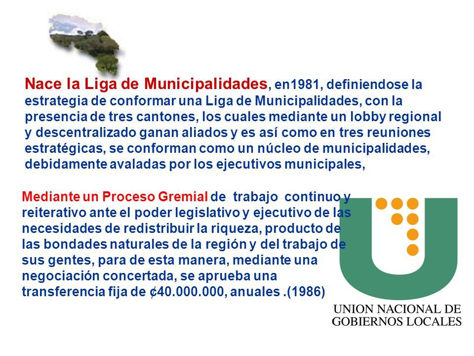 Nace la Liga de Municipalidades, en1981, definiendose la estrategia de conformar una Liga de Municipalidades, con la presencia de tres cantones, los c