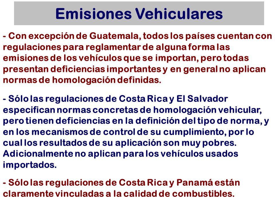 Emisiones Vehiculares - Con excepción de Guatemala, todos los países cuentan con regulaciones para reglamentar de alguna forma las emisiones de los ve