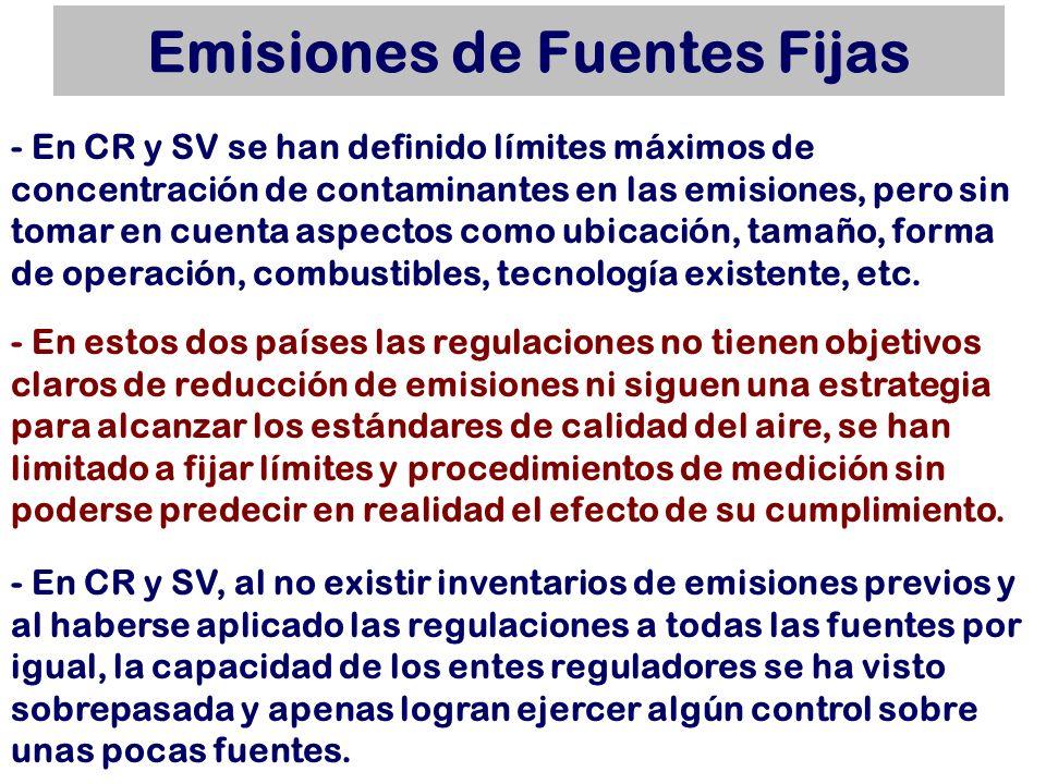 Emisiones de Fuentes Fijas - En estos dos países las regulaciones no tienen objetivos claros de reducción de emisiones ni siguen una estrategia para a