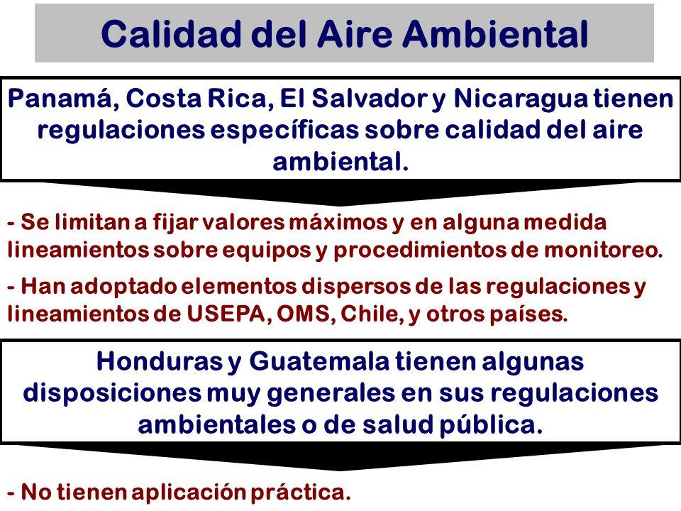Calidad del Aire Ambiental Panamá, Costa Rica, El Salvador y Nicaragua tienen regulaciones específicas sobre calidad del aire ambiental. - Han adoptad