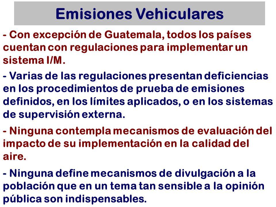 Emisiones Vehiculares - Con excepción de Guatemala, todos los países cuentan con regulaciones para reglamentar de alguna forma las emisiones de los vehículos que se importan, pero todas presentan deficiencias importantes y en general no aplican normas de homologación definidas.
