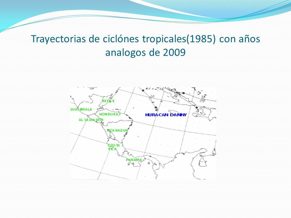 Trayectorias de ciclónes tropicales(1985) con años analogos de 2009