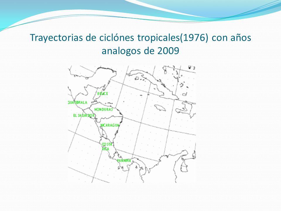 Trayectorias de ciclónes tropicales(1976) con años analogos de 2009