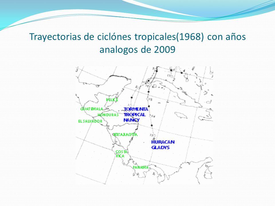 Trayectorias de ciclónes tropicales(1968) con años analogos de 2009