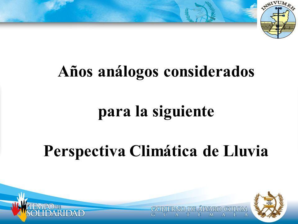 Años análogos considerados para la siguiente Perspectiva Climática de Lluvia