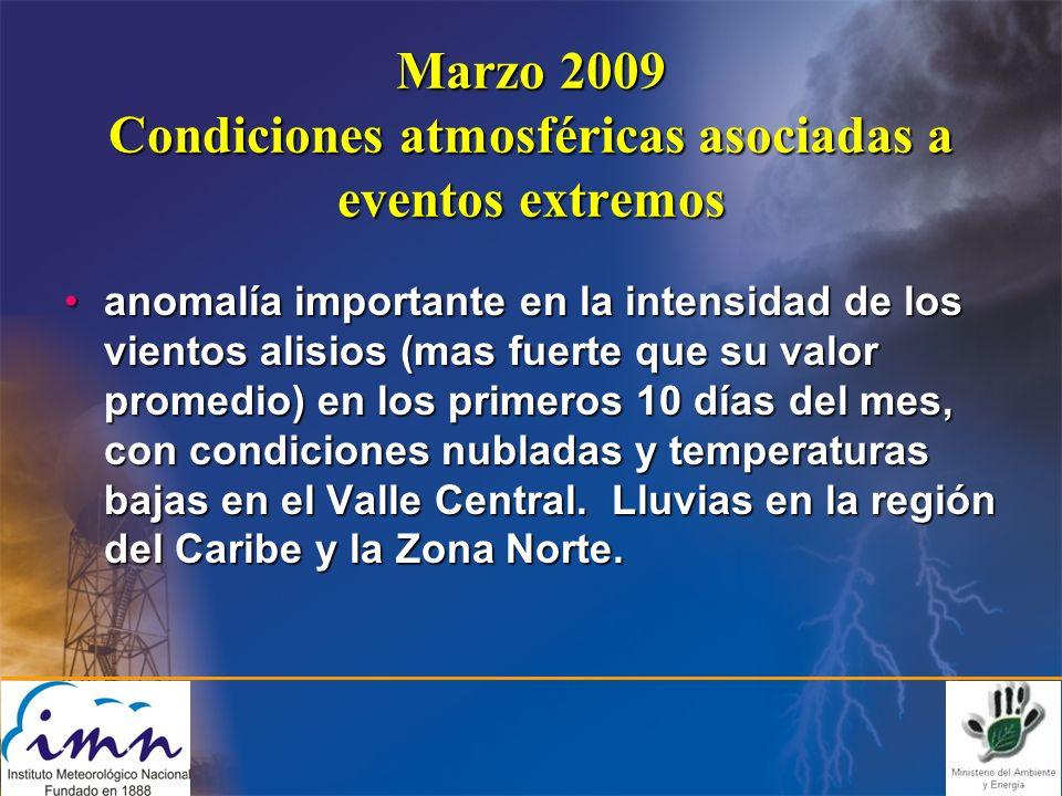 Marzo 2009 Condiciones atmosféricas asociadas a eventos extremos anomalía importante en la intensidad de los vientos alisios (mas fuerte que su valor promedio) en los primeros 10 días del mes, con condiciones nubladas y temperaturas bajas en el Valle Central.