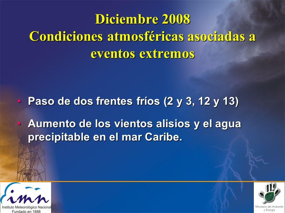 Diciembre 2008 Condiciones atmosféricas asociadas a eventos extremos Paso de dos frentes fríos (2 y 3, 12 y 13)Paso de dos frentes fríos (2 y 3, 12 y