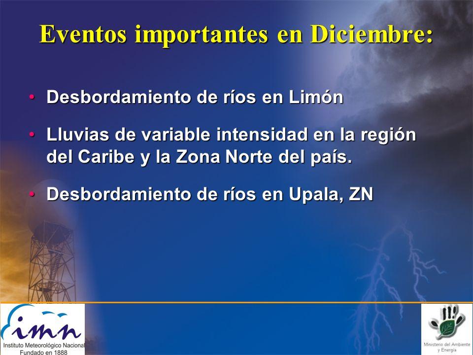 Eventos importantes en Diciembre: Desbordamiento de ríos en LimónDesbordamiento de ríos en Limón Lluvias de variable intensidad en la región del Caribe y la Zona Norte del país.Lluvias de variable intensidad en la región del Caribe y la Zona Norte del país.
