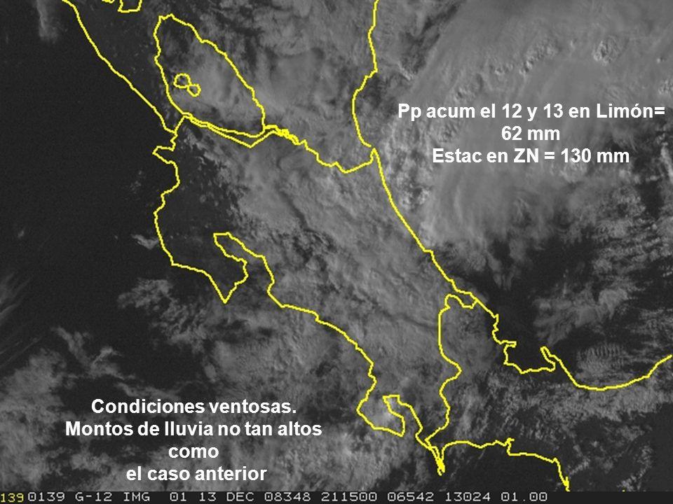 Vientos alisios fuertes por chorro de bajo nivel en el Caribe. Pp acum en ZN ¡ 190 mm