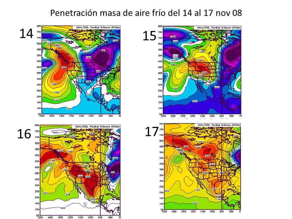 Ingreso de un FF/EF a Centroamérica (15 nov 08) Masa de aire fría y seca Z C I T 1er frente