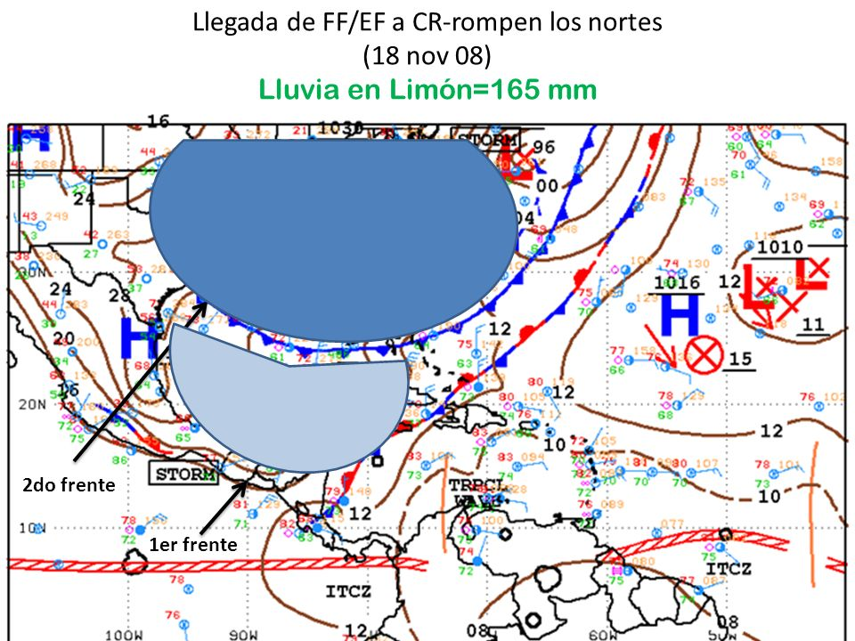 Lluvia diaria (mm) en el Caribe, noviembre de 2008 (Boletín climático del IMN) Promedio: 394 mmLluvia nov 08: 820 mm