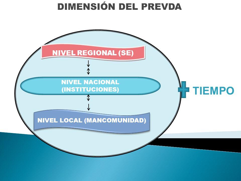 NIVEL REGIONAL (SE) NIVEL LOCAL (MANCOMUNIDAD) NIVEL NACIONAL (INSTITUCIONES) DIMENSIÓN DEL PREVDA TIEMPO
