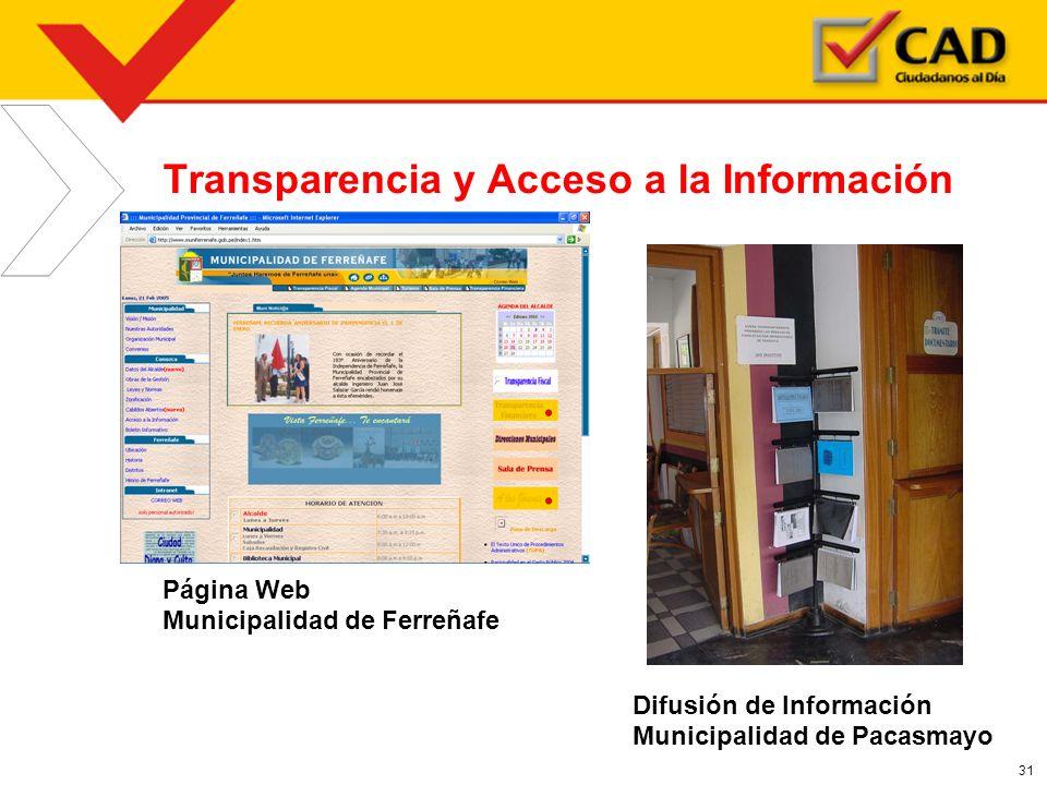 31 Transparencia y Acceso a la Información Página Web Municipalidad de Ferreñafe Difusión de Información Municipalidad de Pacasmayo