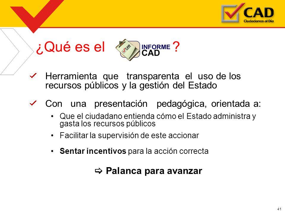 41 Herramienta que transparenta el uso de los recursos públicos y la gestión del Estado Con una presentación pedagógica, orientada a: Que el ciudadano